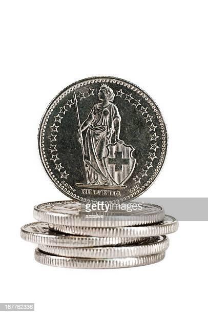 Helvetia auf der Rückseite eines Swiss coin