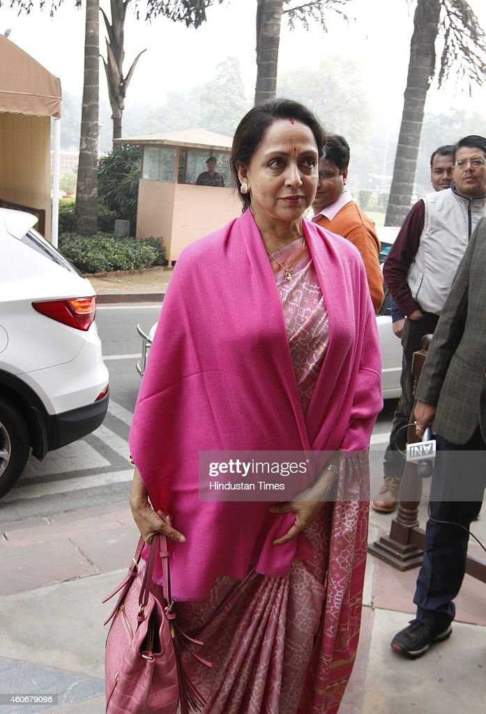 <a gi-track='captionPersonalityLinkClicked' href=/galleries/search?phrase=Hema+Malini&family=editorial&specificpeople=1026787 ng-click='$event.stopPropagation()'>Hema Malini</a> at Parliament House on December 19, 2014 in New Delhi, India. Progress on key bills such as a nationwide sales tax scrutinised as Parliament's winter session ends. Developments in Russia and foreign fund flows will be key. With the Opposition giving the government a hard time in Parliament over the alleged forced conversion row, the fate of several crucial bills hangs in a limbo. The government had planned to get key bills like Insurance Bill and GST Bill passed in the ongoing Winter Session. But with just three days left in the Winter session of Parliament there is hardly any hope that the government will be able to get the Bills passed.