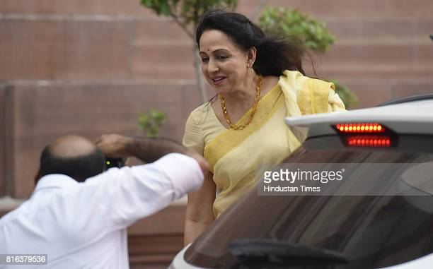 Hema Malini during the vote for the 15th President of India election at Parliament House on July 17 2017 in New Delhi India Approx 99% voting was...