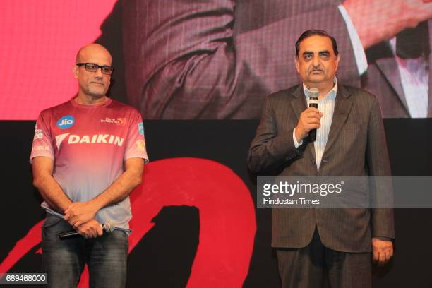 Hemant Dua Ceo Delhi Daredevils With Kanwal Jeet Jawa Managing Director of Indian Operations Daikin Industries Ltd at a party hosted by Daikin to...
