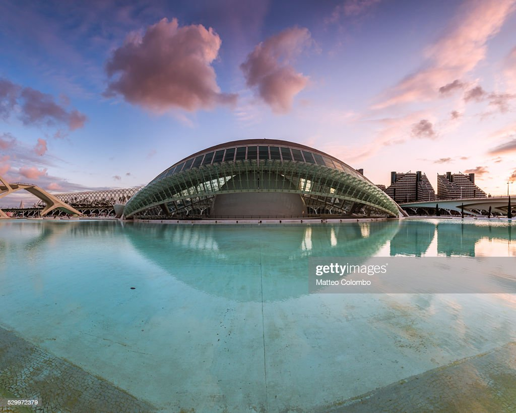 L'Hemisferic reflected in water at sunset Valencia