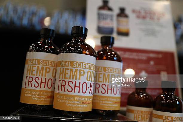Hemp oil products are displayed during the Cannabis World Congress Business Expo at the Jacob Javits Center on June 17 2016 in New York City The...