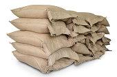 Hemp sacks containing rice isolate on white background