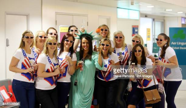 A Hen party departs Heathrow Airport for Dublin for the Bank Holiday