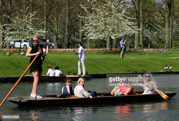 A hen party punt ride along the River Cam in Cambridge