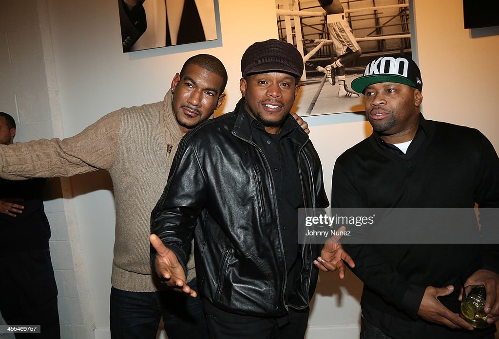 Hen Roc, <a gi-track='captionPersonalityLinkClicked' href=/galleries/search?phrase=Sway+Calloway&family=editorial&specificpeople=214641 ng-click='$event.stopPropagation()'>Sway Calloway</a>, and Mel Testamark attend the Book Of Kings launch event, hosted by T.I. and Iggy Azalea at Pillars 38 on December 11, 2013 in New York City.