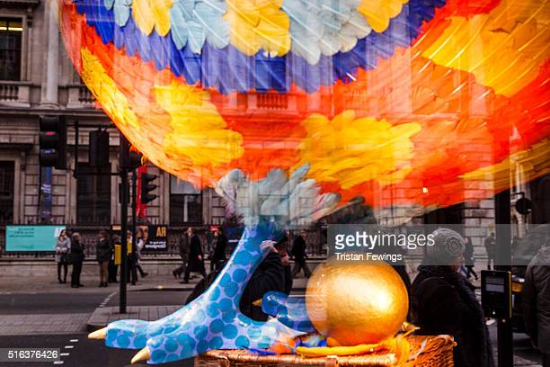 A hen with a golden egg is diplayed in the window of Fortnum Mason on March 18 2016 in London England