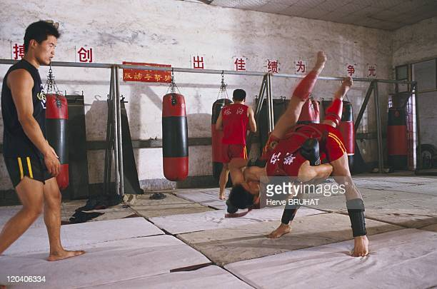 Henan in China in June 2005 The originality of sanda comes from the fact that after having exchanged kicks and fist blows the opponents continue in a...