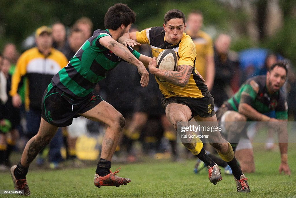 Henare Faithfull of New Brighton charges forward during the match between New Brighton RFC and Linwood RC on May 28, 2016 in Christchurch, New Zealand.