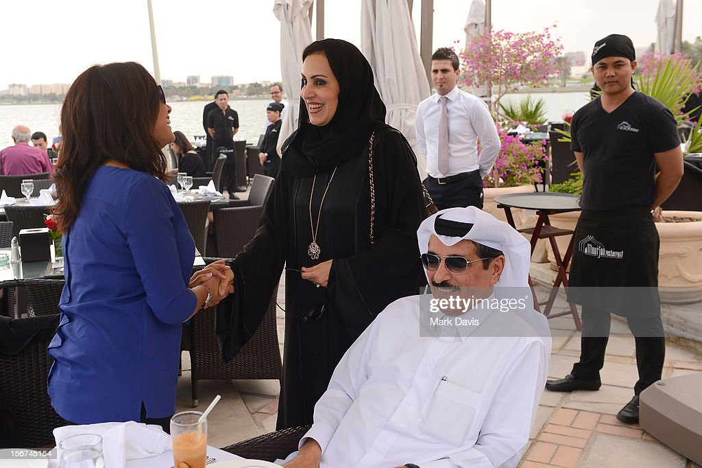 Hend Sabri and Minister of Culture, Arts and Heritage Dr. Hamad bin Abdulaziz Al-Kuwar at the Arab Guests Lunch during the 2012 Doha Tribeca Film Festival at the Al Mourjan Restaurant on November 20, 2012 in Doha, Qatar.