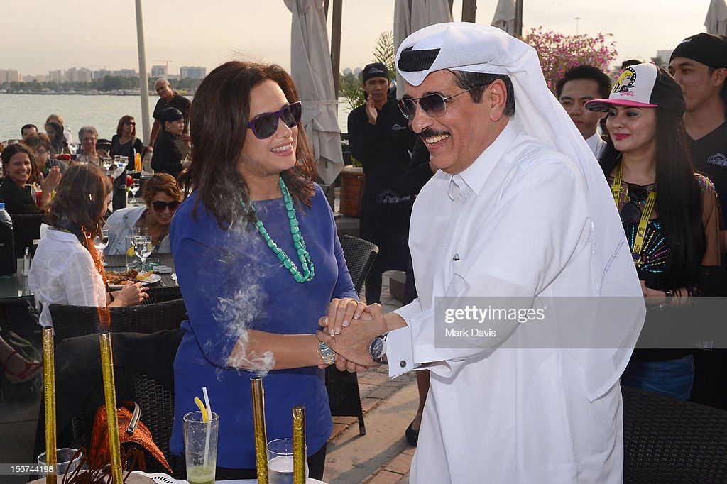 Hend Sabri and Minister of Culture, Arts and HeritageDr. Hamad Bin Abdulaziz Al-Kuwari attend the Arab Guests Lunch during the 2012 Doha Tribeca Film Festival at the Al Mourjan Restaurant on November 20, 2012 in Doha, Qatar.