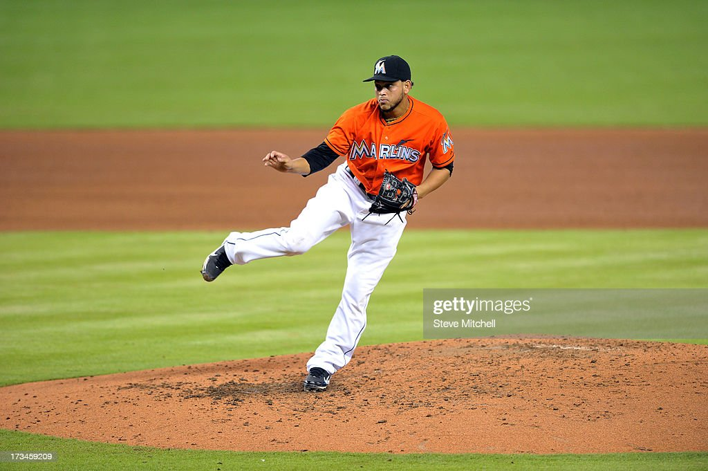 <a gi-track='captionPersonalityLinkClicked' href=/galleries/search?phrase=Henderson+Alvarez&family=editorial&specificpeople=7091625 ng-click='$event.stopPropagation()'>Henderson Alvarez</a> #37 of the Miami Marlins delivered a pitch during the fifth inning against the Washington Nationals at Marlins Park on July 14, 2013 in Miami, Florida.