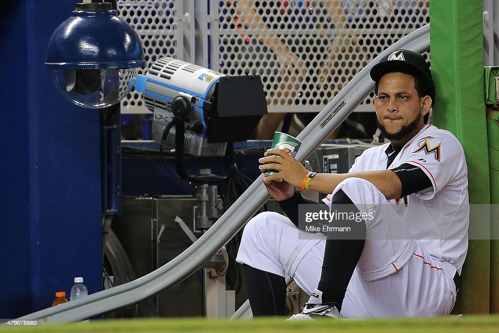 <a gi-track='captionPersonalityLinkClicked' href=/galleries/search?phrase=Henderson+Alvarez&family=editorial&specificpeople=7091625 ng-click='$event.stopPropagation()'>Henderson Alvarez</a> #37 of the Miami Marlins looks on during a game against the San Francisco Giants at Marlins Park on June 30, 2015 in Miami, Florida.