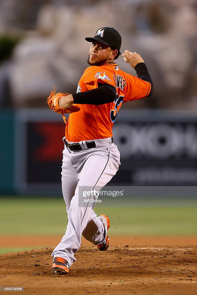 <a gi-track='captionPersonalityLinkClicked' href=/galleries/search?phrase=Henderson+Alvarez&family=editorial&specificpeople=7091625 ng-click='$event.stopPropagation()'>Henderson Alvarez</a> #37 of the Miami Marlins pitches against the Los Angeles Angels of Anaheim in the first inning at Angel Stadium of Anaheim on August 27, 2014 in Anaheim, California.