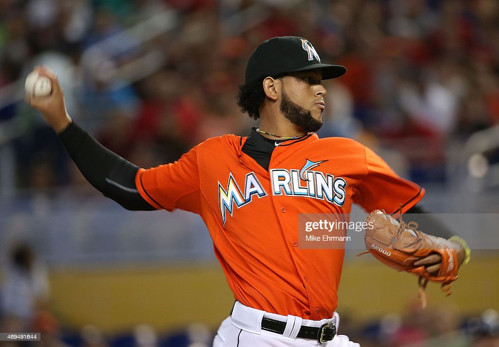 <a gi-track='captionPersonalityLinkClicked' href=/galleries/search?phrase=Henderson+Alvarez&family=editorial&specificpeople=7091625 ng-click='$event.stopPropagation()'>Henderson Alvarez</a> #37 of the Miami Marlins pitches during a game against the Tampa Bay Rays at Marlins Park on April 12, 2015 in Miami, Florida.
