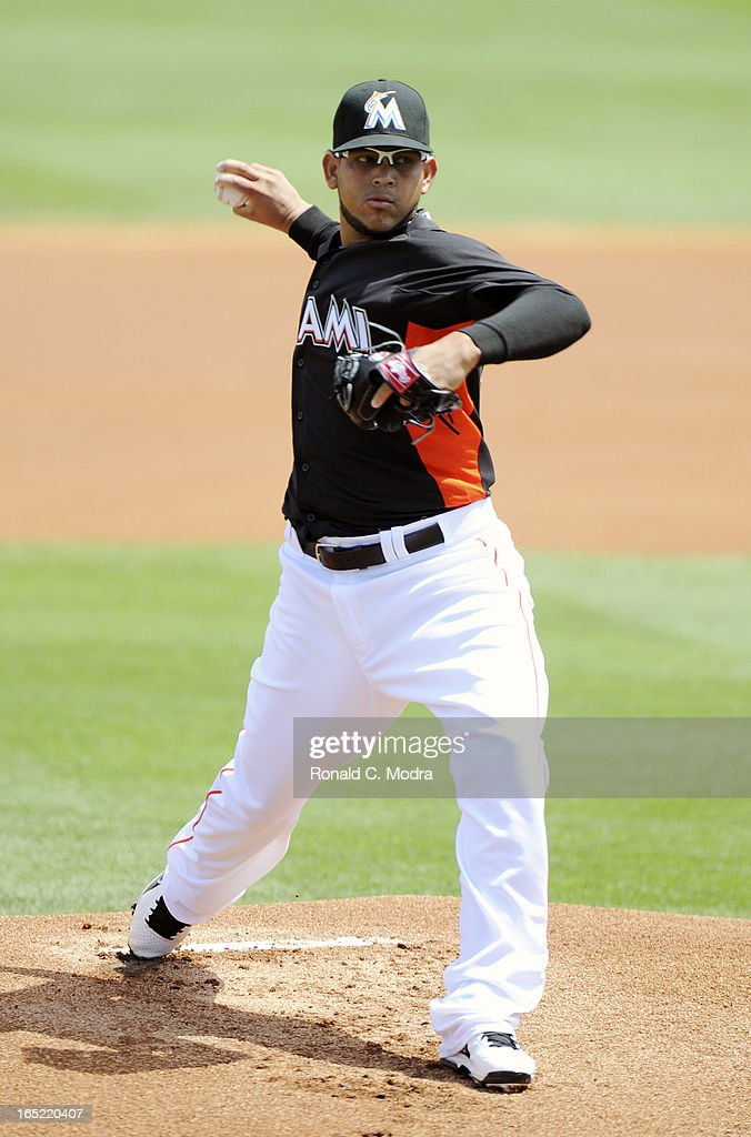 Henderson Alvarez #37 of the Miami Marlins pitches during a spring training game against the Washington Nationals at Roger Dean Stadium on March 26, 3012 in Jupiter, Florida.