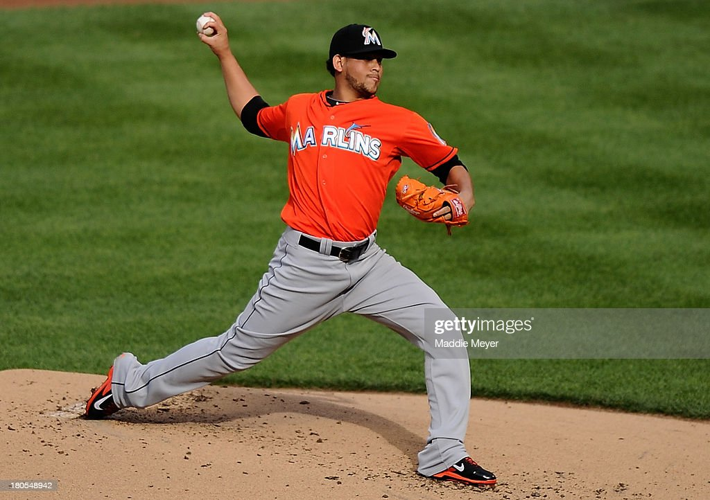 <a gi-track='captionPersonalityLinkClicked' href=/galleries/search?phrase=Henderson+Alvarez&family=editorial&specificpeople=7091625 ng-click='$event.stopPropagation()'>Henderson Alvarez</a> #37 of the Miami Marlins throws against the New York Mets during the first inning at Citi Field on September 14, 2013 in the Flushing neighborhood of the Queens borough of New York City.