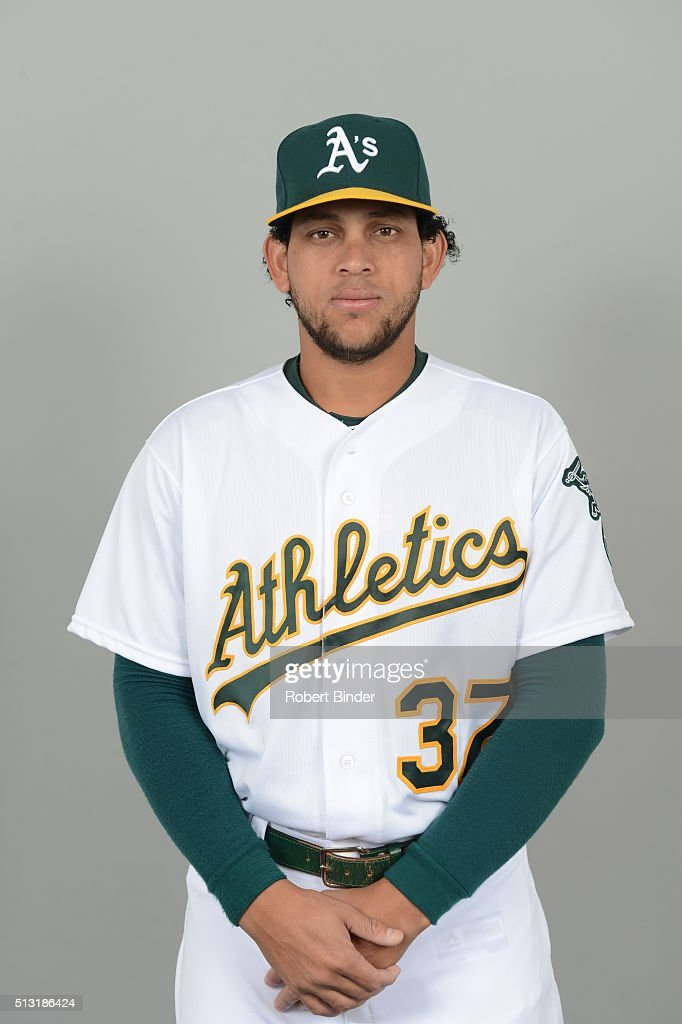 <a gi-track='captionPersonalityLinkClicked' href=/galleries/search?phrase=Henderson+Alvarez&family=editorial&specificpeople=7091625 ng-click='$event.stopPropagation()'>Henderson Alvarez</a> #37 of the Oakland Athletics poses during Photo Day on Monday, February 29, 2016 at Hohokam Stadium in Phoenix, Arizona.