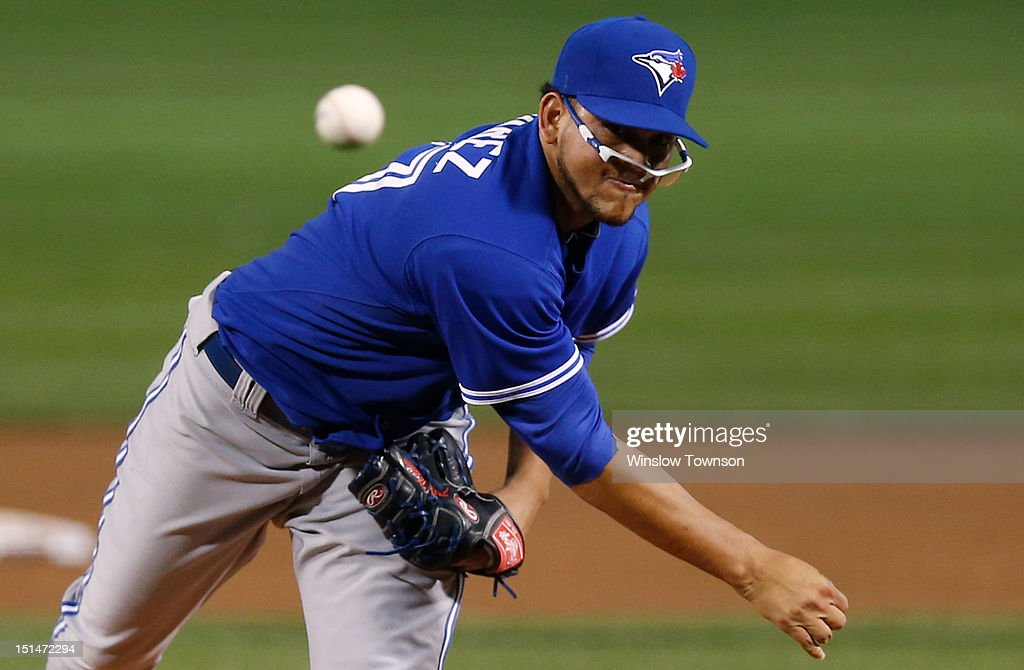 <a gi-track='captionPersonalityLinkClicked' href=/galleries/search?phrase=Henderson+Alvarez&family=editorial&specificpeople=7091625 ng-click='$event.stopPropagation()'>Henderson Alvarez</a> #37 of the Toronto Blue Jays loses his glasses as he pitches against the Boston Red Sox during the first inning of the game at Fenway Park on September 7, 2012 in Boston, Massachusetts.