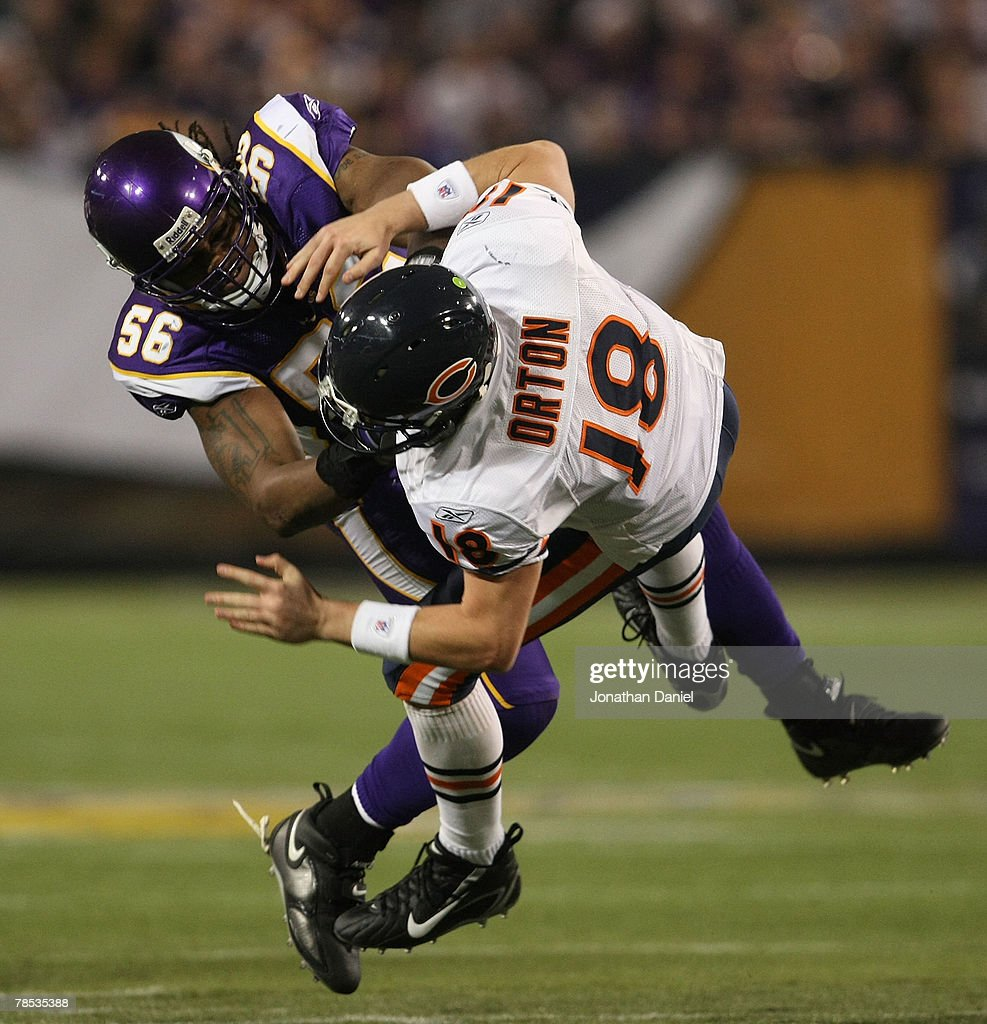8ba3626ca4e ... E.J. Henderson 56 of the Minnesota Vikings hits Kyle Orton 18 of the  Chicago ...