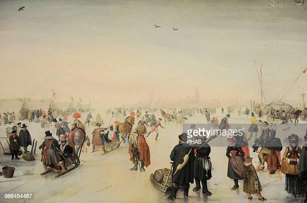 Hendrick Avercamp Dutch painter Enjoying the Ice near a Town c 1620 Detail Rijskmuseum Amsterdam Netherlands