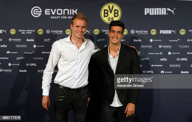 Hendrik Bonmann and Mikel Merino of Borussia Dortmund on the red carpet prior to the Borussia Dortmund Champions Party on May 27 2017 in Berlin...