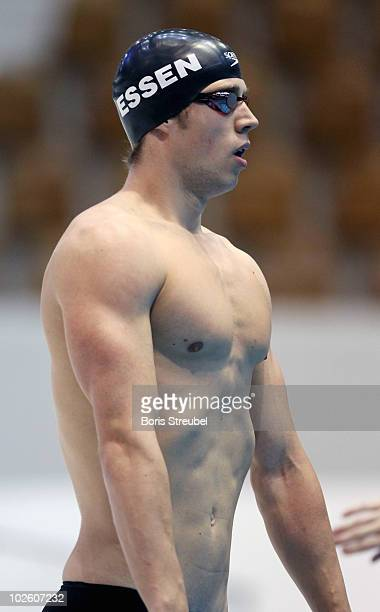 Hendrik Feldwehr of SG Essen prepares for the start of the men's 100 m breaststroke A final during the German Swimming Championship 2010 at the...