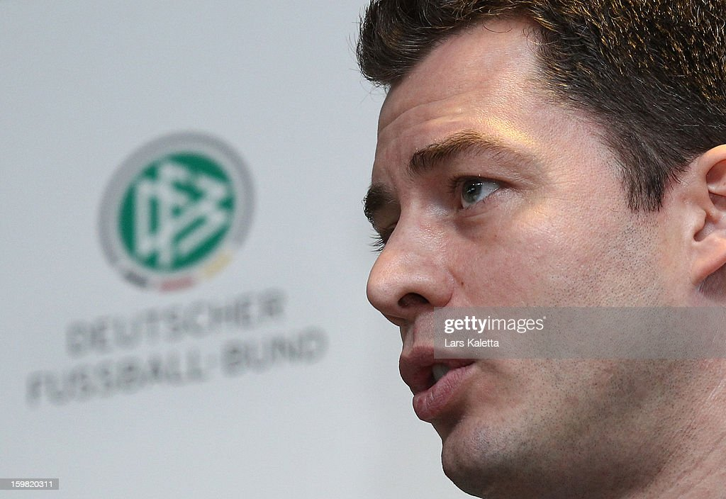Hendrik Grosse Lefert, Security Chief of the German Football Association DFB, is seen during the DFB & DFL regional conference at AWD Arena on January 21, 2013 in Hanover, Germany.