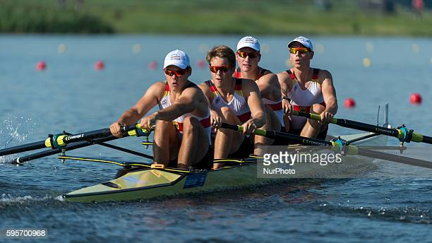 Hendrik Kaltenborn Fabio De Oliveira Felix Brummel and Kevin Diedrich Alexander from Germany race the Under 23 Men's Four on day 3 of the 2016 World...