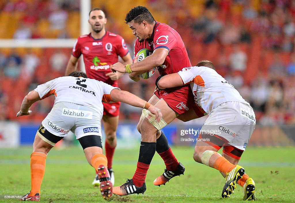 <a gi-track='captionPersonalityLinkClicked' href=/galleries/search?phrase=Hendrik+Tui&family=editorial&specificpeople=9461261 ng-click='$event.stopPropagation()'>Hendrik Tui</a> of the Reds is tackled during the round 10 Super Rugby match between the Reds and the Cheetahs at Suncorp Stadium on April 30, 2016 in Brisbane, Australia.