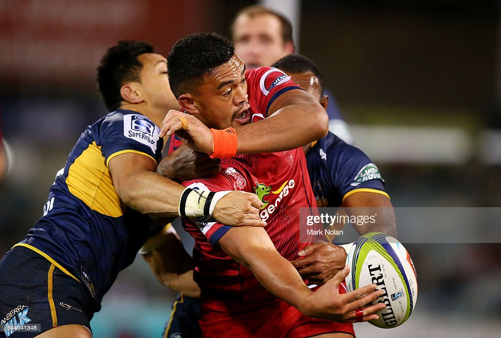 <a gi-track='captionPersonalityLinkClicked' href=/galleries/search?phrase=Hendrik+Tui&family=editorial&specificpeople=9461261 ng-click='$event.stopPropagation()'>Hendrik Tui</a> of the Reds offloads during the round 15 Super Rugby match between the Brumbies and the Reds at GIO Stadium on July 1, 2016 in Canberra, Australia.