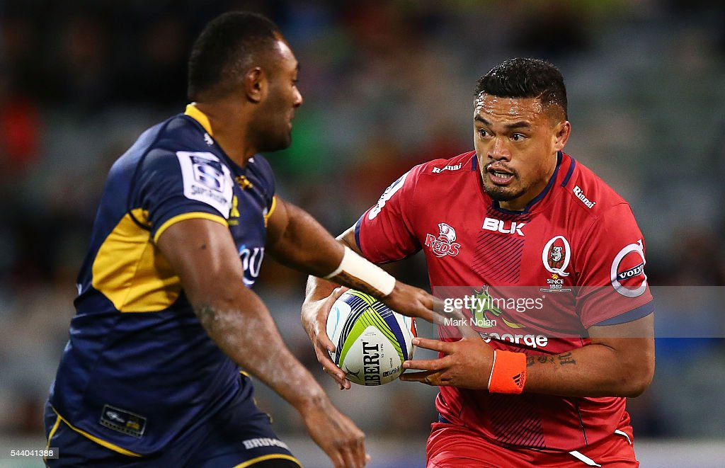<a gi-track='captionPersonalityLinkClicked' href=/galleries/search?phrase=Hendrik+Tui&family=editorial&specificpeople=9461261 ng-click='$event.stopPropagation()'>Hendrik Tui</a> of the Reds runs the ball during the round 15 Super Rugby match between the Brumbies and the Reds at GIO Stadium on July 1, 2016 in Canberra, Australia.