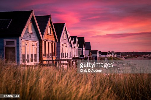 Hengistbury Head Beach Huts at Sunrise : Stock Photo