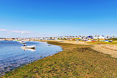 Hengistbury head seaside travel destination on a sunny day