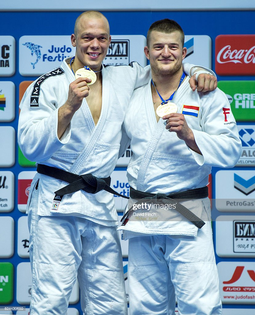 <a gi-track='captionPersonalityLinkClicked' href=/galleries/search?phrase=Henk+Grol&family=editorial&specificpeople=4920749 ng-click='$event.stopPropagation()'>Henk Grol</a> of Holland, left, smiles broadly as he shows his third European gold medal at u100kg alongside fellow Dutchman, Michael Korrell who claimed the bronze medal during the 2016 Kazan European Judo Championships (21-24 April) at the Tatneft Sports Palace, Kazan, Russia.
