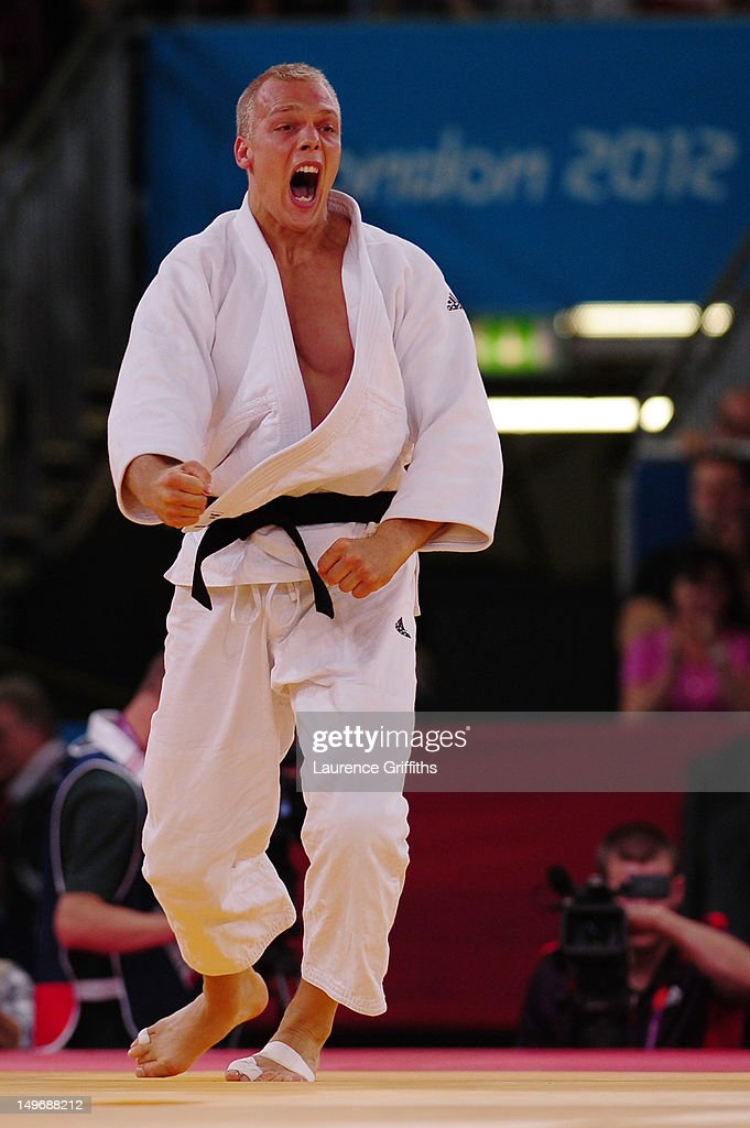 Henk Grol of Netherlands celebrates defeating Hee-Tae Hwang of Korea in the Men's -100 kg Judo on Day 6 of the London 2012 Olympic Games at ExCeL on August 2, 2012 in London, England.