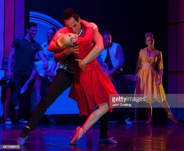 Henk Opperman as Elvis Presley and Simone Botha perform on stage during a performance of Private Presley at the Baxter Theatre on November 12 2015 in...