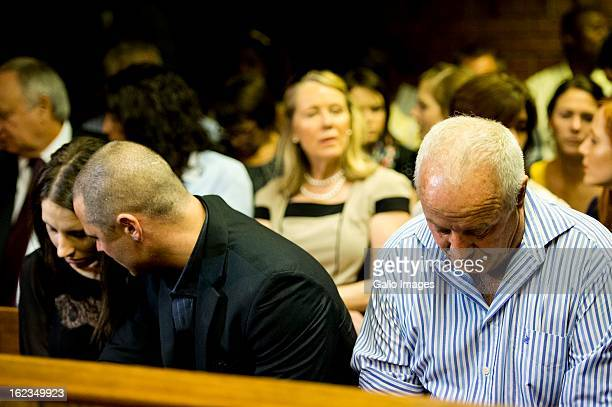 Henke Carl and Aimee Pistorius at the Pretoria Magistrates court on February 22 in Pretoria South Africa Oscar Pistorius is accused of the murder of...