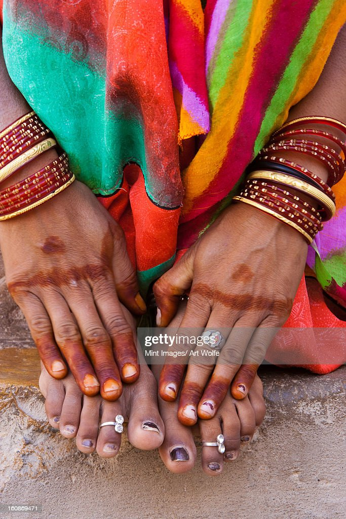 Henna hands, Rajasthan, India : Stock Photo