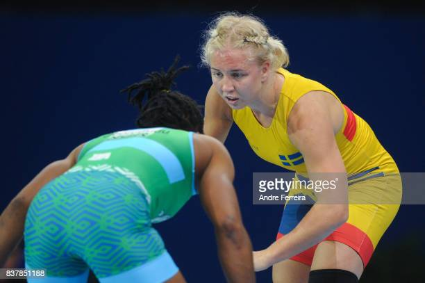 Henna Katarina Johansson of Sweden during the female 63 kg wrestling competition of the Paris 2017 Women's World Championships at AccorHotels Arena...