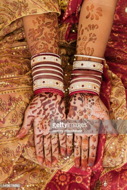 Henna tattoos on woman's hands