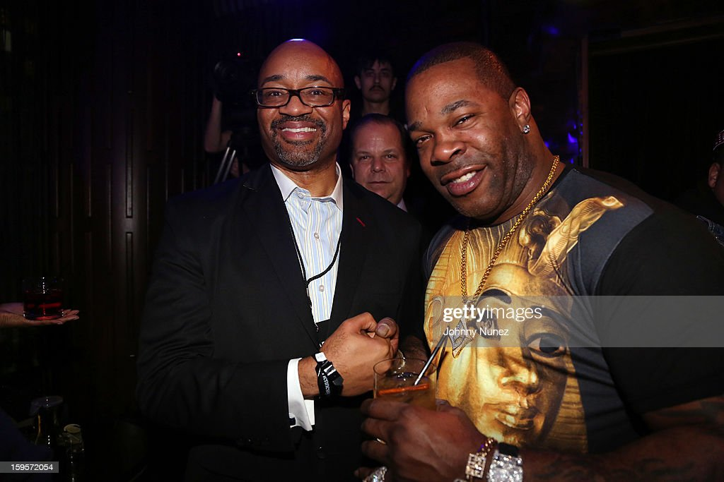 Hennessy's Rodney Williams and Busta Rhymes attend Hennessy vs Introduces Nas As Newest Partner at R Lounge at the Renaissance New York Times Square Hotel on January 15, 2013 in New York City.