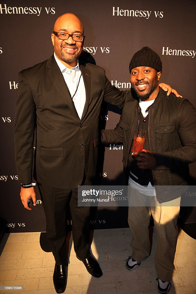 Hennessy's Rodney Williams and publicist Denrick Romain attend Hennessy vs Introduces Nas As Newest Partner at R Lounge at the Renaissance New York Times Square Hotel on January 15, 2013 in New York City.