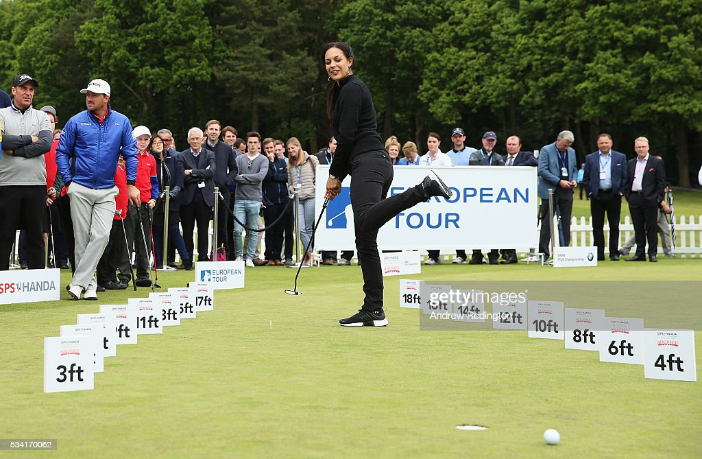 Henni Zuel reacts in the ISPS HANDA Pressure Putt Showdown prior to the BMW PGA Championship at Wentworth on May 25, 2016 in Virginia Water, England.