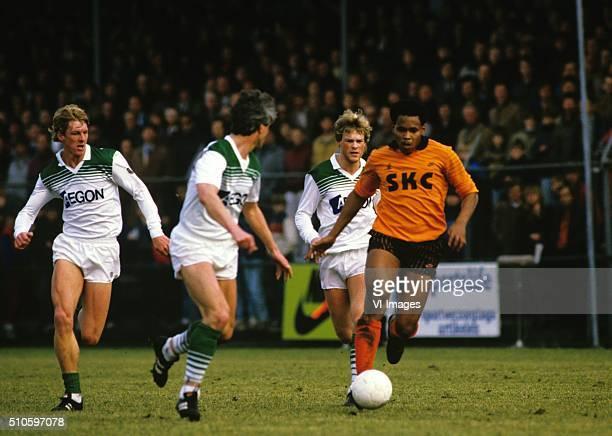 Hennie Meijer of FC Volendam Erwin Koeman of FC Groningen during the Eredivisie match between FC Volendam and FC Groningen on Febraury 3 1985 at...