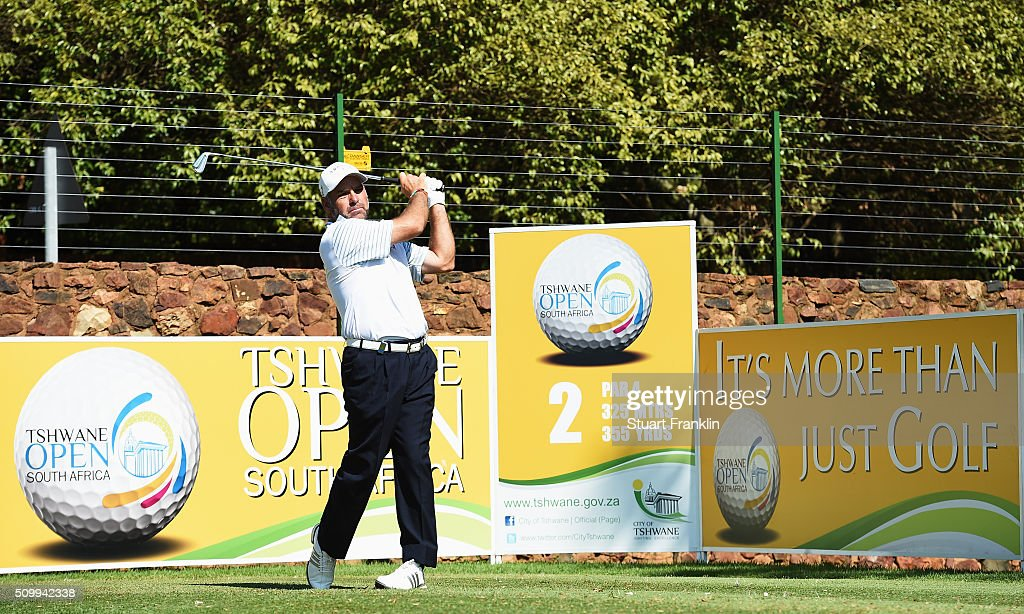 <a gi-track='captionPersonalityLinkClicked' href=/galleries/search?phrase=Hennie+Otto&family=editorial&specificpeople=234621 ng-click='$event.stopPropagation()'>Hennie Otto</a> of South Africa plays a shot during the third round of the Tshwane Open at Pretoria Country Club on February 13, 2016 in Pretoria, South Africa.