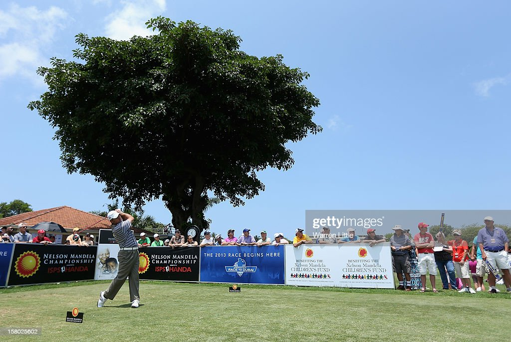 Hennie Otto of South Africa tees off on the first hole during the second round of The Nelson Mandela Championship presented by ISPS Handa at Royal Durban Golf Club on December 9, 2012 in Durban, South Africa.