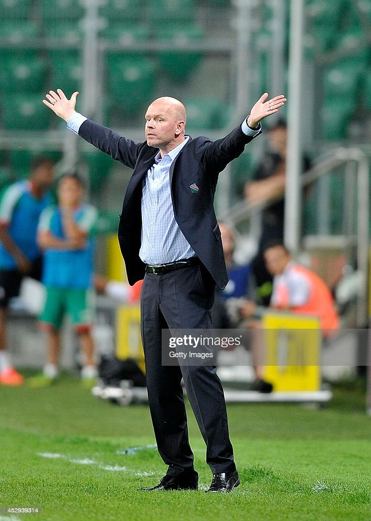 Henning Berg head coach of Legia reacts during the third qualifying round UEFA Champions League match between Legia and Celtic at Pepsi Arena on July 30, 2014 in Warsaw, Poland.