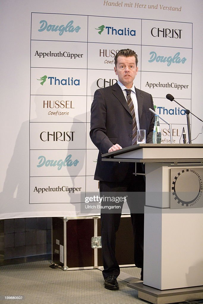 Henning Kreke, President and CEO of Douglas Holding AG speaks during the annual press conference at the Industry Club on January 22, 2013 in Duesseldorf, Germany. The DOUGLAS Group reports satisfactory performance in the 2011/12 fiscal year. The Group's consolidated sales revenue rose by 1.7 percent to EUR 3.44 billion. In Germany, sales revenue of the DOUGLAS Group rose by 2.7 percent to more than EUR 2.3 billion compared to the previous year. At EUR 1.1 billion, international sales lagged slightly compared to the previous year.