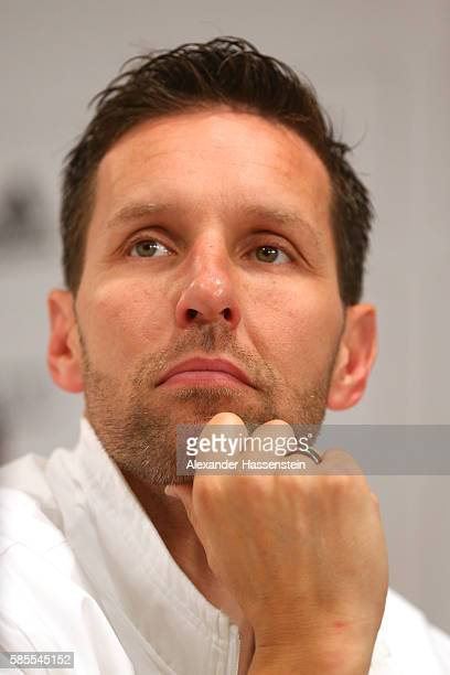 Henning Lambertz head coach of Germany's Olympic Swimming team looks on during a press conference at the 'Deutsche Haus Rio 2016' ahead of the Rio...